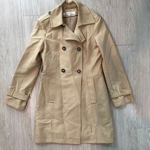 Kenneth Cole Small Long Trench Coat Jacket Beige